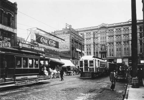 Another and earlier look north on Occidental and past Interurban cars to the Seattle Hotel.