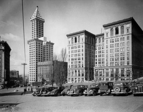 A. Curtis's 1930s record of the City County Building after eight stories (capped with a jail) were added.  (Courtesy, Lawton Gowey)