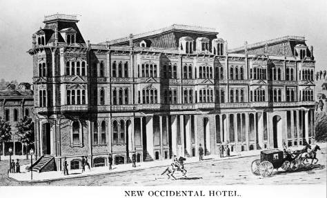 The Occidental Hotel snug on its flatiron block, a detail form the 1888 Sanborn Map.