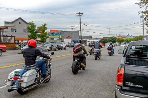 "NOW: On September 17th last Jean Sherrard took this ""repeat"" with the 2 Bit Saloon on the far left. It was the last day and night for the tavern, which timed its finale with that month's Backfire Motorcycle Night in Ballard."