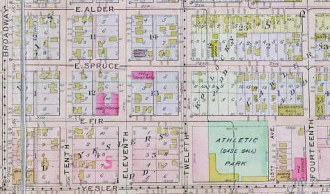 The Comet Apartments are found above the center of this detail pulled - again - from the 1912 Baist Map. (Courtesy, again, Ron Edge)