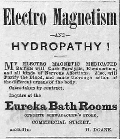 The hydrotherapy available at the Eureka Baths on terretorial Seattle's Commercial Street, was advertized here in 1877.   Seattle's Dr. Weed practiced hydrotherapy and was also a Mayor here.  Interbay Pioneer Henry Smith also practiced it.  And honestly don't you find a hot bath sometimes therapeutic?