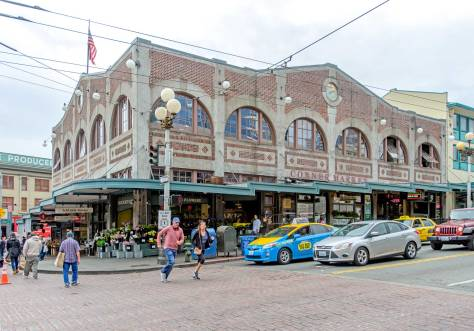 NOW: In 1912, eight years after the Hotel York was razed, the Corner Market Building took its place as part of the Pike Place Public Market.