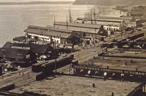 The Northern Pacific Docks (mostly) between First Station No. 5 at the foot of Madison Street and Pier 6/57 near the foot of Union Street.