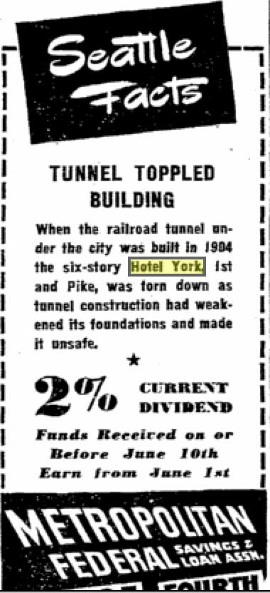 "Through out community's history, it's story has been adopted by businesses to help promote their products and/or services.  Here in 1947 is one of Metro Fed. Savings ""Seattle Facts.""  This one remembers the meeting of the railroad tunnel and the hotel."