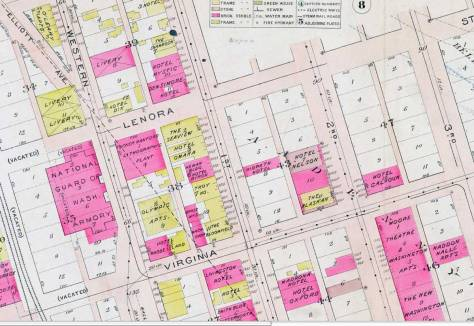 Detail from the 1912 Baist Real Estate Map.  The Hotel Ridpath appears near the center with the Troy Hotel acroos First Ave. from it.   The Livingston Hotel at the southwest corner of Virginia and First  has been home for the Virginia Inn Tavern now for many years.  We include directly below an interior from the bar photographed in 2006 with Jean Sherrard and Berangere Lomont, both of this blog.  BB was visiting from Paris.