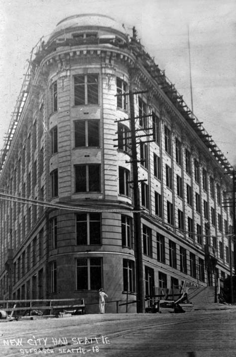 Otto Frasch's first record of City Hall (the 400 Yesler Building) near the end of its construction.