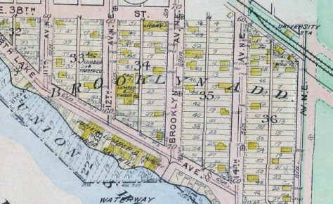 Remembering first that University Way is still named 14th Avenue in 1912, and remembering also that the W.P.A. tax card information is sometimes mistaken about any structure's construction date, then it seems that the footprint printed here on Block 35 Lot 25 & 26 of the Brooklyn Addition may be our featured home at 3711 14th Avenue, and in 1912, still three years before the date of origin given to it by the tax card.  It has the rough shape of the house itself, and on tax cards rough is all one needs.