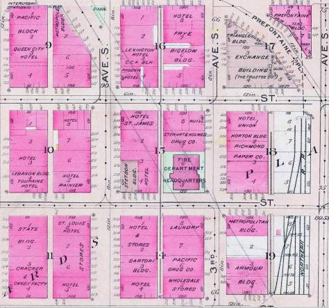 Someone has drawn borders for the 1928 Second Ave. Extension through this detail from the 1912 Baist Real Estate Map.  Yelser Way runs along the top, and Jackson Street the bottom.  Note, near the center, the Fire Department Headquarters, aka Fire Station No. 10. here at the northwest corner of Third Ave. South and Main Street.  (Courtesy, Ron Edge)