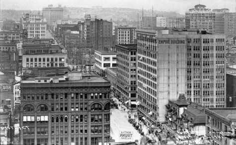 A look north on Second Ave. from the roof of the then new Hoge Building, with the Burke Building here on the left, and both the Stetson-Post and the Empire Building filling the block on its east side between Marion and Madison.