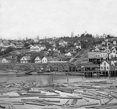 About ten years earlier, Peterson and Bros recorded this as part of a wide panorama of the city taken from the elbowed end of Yesler's Wharf. That's Yesler's log pond in the foreground.  First Hill has been recently logged off.  Columbia Street climbs it, right-of-center.  The log retaining wall holding Front Street (First Ave) above the tides was installed in 1876,