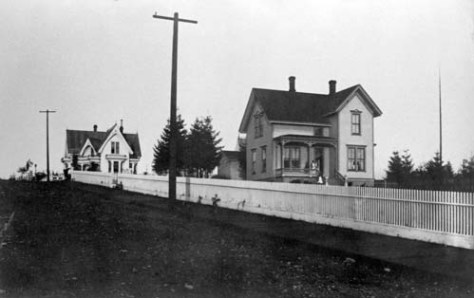 """The Campbell home at the southwest corner of James and Minor.  Their long front yard, which reached the block to Boren Avenue, was the Gardner's """"next door"""" neighbor."""