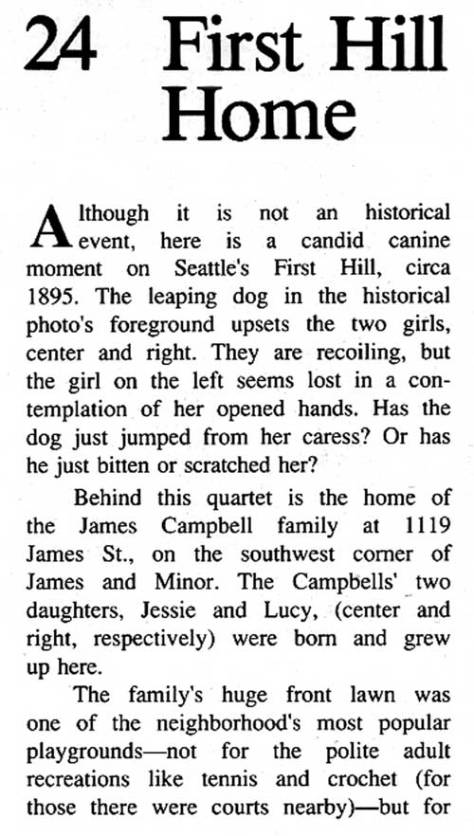 [Please note that the number 24 in the header refers to the chapter number in the book from which this was scanned, Seattle Now and Then, Volume Two, first published in 1987 - if memory serves.]