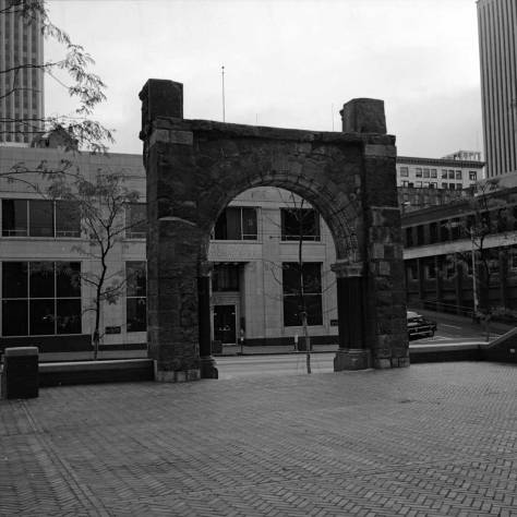 In the fall of 1974 Frank Shaw framed the front door of the Pacific National Bank, precursor of the Interstate Bank at the northeast corner of Second Ave. and Marion Street.