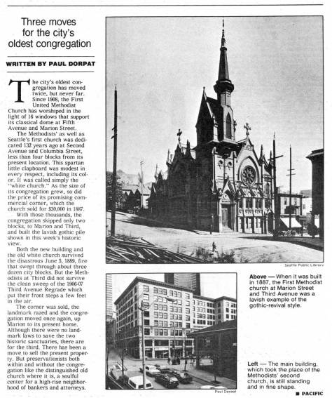 A clipping from Pacific: the Methodists at the southeast corner of Third and Marion.  This Gothic head piece (for the corner) was built in the late 1880s and survived the 1889 fire, but not the regrade on Third Avenue, 1907.