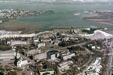 An Ellis aerial looking east over the UW campus
