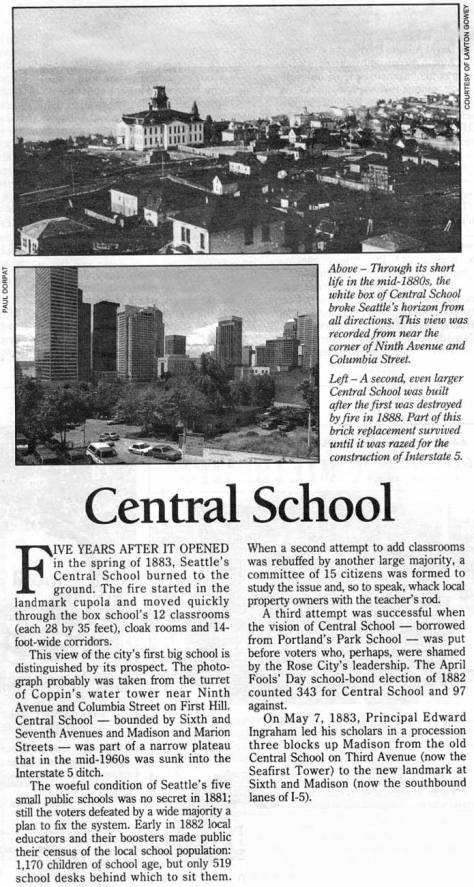 CENTRAL SCHOOL from Coppins Water Tower - a clip from Pacific for July 28, 1996.