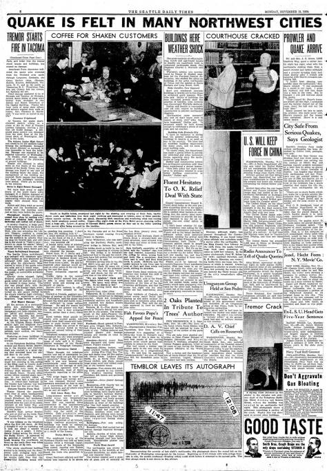A full page in The Seattle Times for Nov. 13, 1939 about the earthquake that while it did not topple it doomed it.