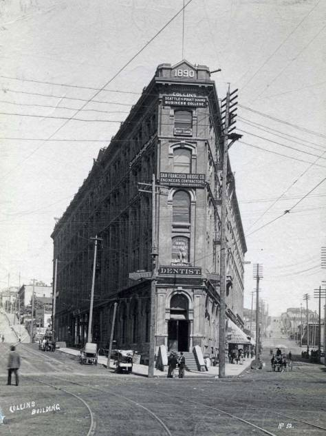When new in 1890  the future Occidental and finally Seattle Hotel was named the Collins Building for its owner.    Here James Street is to the left and Mill Street (Yesler Way) to the right.
