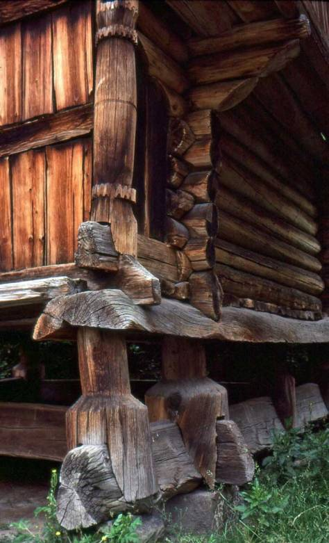 """For example, on a visit to Norway Christine Anderson photographed an example of traditional stave construction, above.  Below, she has complimented (or repeated) the old with the """"new"""" from 1915."""