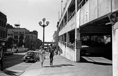 "Circa 1984, looking west from near Second Ave. along the south facade of the Pioneer Square Garage, AKA the ""Sinking Ship.""  That's all folks!"