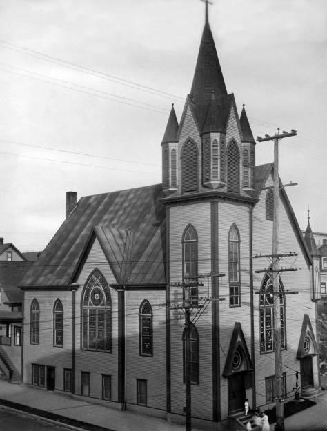 THEN: Swedish Lutheran (Gethsemane) Church's second sanctuary at the northeast corner of Ninth Avenue and Steward Street circa 1920, photo by Klaes Lindquist. (Courtesy, Swedish Club)