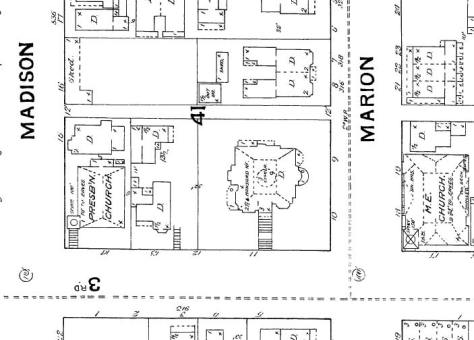 The Stacy Mansion takes a quarter-block in this 1888 Sanborn map.  The Calvinists are on the left and the Methodists across Marion Street on the far right.