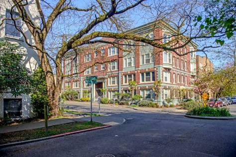 NOW: Now the beautiful brick apartment house, at the northwest corner of Harrison Street and 10th Avenue East, is home for low-income tenants with thirty-two affordable units.