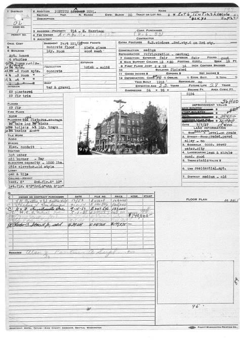 The Silvian's tax card for 1938.  (Courtesy, Washington State Archive, Bellevue College branch)