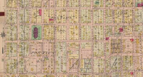 A detail from the 1908 Baist Real Estate Map showing some of the reach of the Pontius additions.  CLICK-CLICK to ENLARGE.