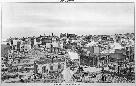 The serviceable ruins of the Dexter Horton Bank (Seattle First National) show at the bottom-center at the northwest corner of Commercial Street (First Ave. S.) and Washington Street.  Some of the skyline here can be found in the top featured view too.