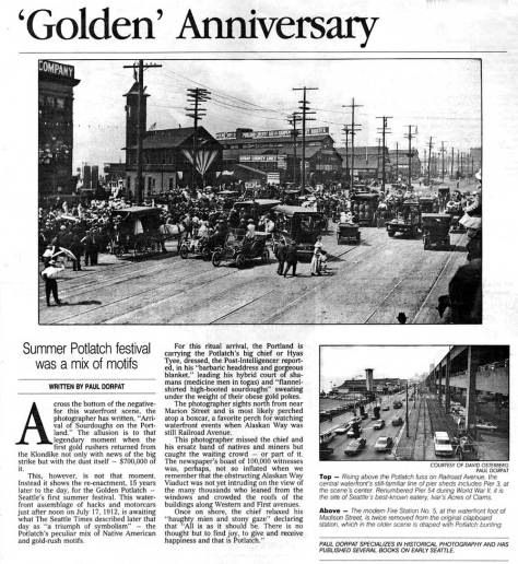 A Pacific clipping from July 1, 1990 showing some of the Potlatch's Railroad Avenue action, but in 1912, not 1911.