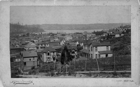This early 1890's McDonald pan looks north from near Union Street and Terry Avenue on First Hill.   Wallingford is on the far shore of Lake Union. Above the center of the subject and a little to the left, the Pontius mansion tower breaks the horizon.  About two large lots to the east you can also find the farm house that is feature at the top of all this.   It was this pan that solved the frustrating problem for me of locating the earlier Pontius home.  There it is!  And just below is a detail of that telling part of McDonald's helpful pan.