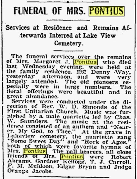 A March 30,  1902 Times report on the Margaret Pontius funeral.