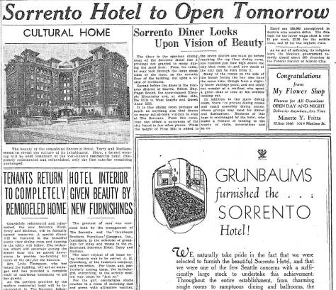 The top half of The Seattle Times Oct. 17, 1933 coverage of the Sorrento's remodel and its re-opening.,