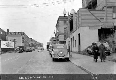 Looking north on 5th Avenue from Terrace Street with the sidewalk face of Our Lady of Good Help on the right. 1939