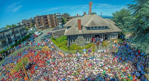In June of this year, Clay assembled more than a thousand school kids to help celebrate the new beginning of the Homestead. I took this photo from atop a lift with a very wide angle lens.