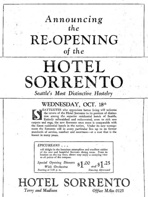 """From the same October issue, the hotel's own announcement of its re-opening.  """"Special Opening Dinners With Orchestra"""" are advertised within the ad.  Directly below is a front door photo fo the popular Carey Band, which  was not necessarily the band playing there in the fall of 1933."""