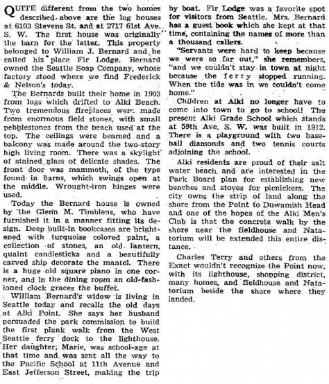 """We have excerpted the part about the Bernards from Margaret Pitcairn Strachan's feature on """"Alki Point District, Seattle's Brithplace"""" published in The Seattle Times on June 14, 1946."""