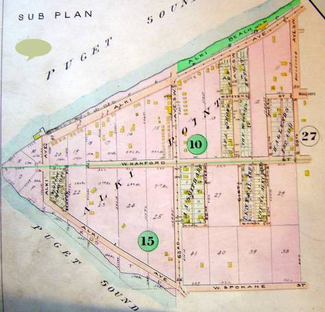 """A detail of Alki Point from the 1912 Baist Real Estate map, and it is notable how much of it was still available for development in 1912. The """"Halgund First Addition"""" to the left of the """"27"""" printed far-right, was developed by Johan Haglund on property he and his son Ivar (Keep Clam) interited after the death of his wife and Ivar's mother, Daisy Hanson Haglund died in 1907. There is presently an exhibit of IVAR and his """"works"""" up at the Nordic Heritage Museum. I'm schedule to do a lecture there on Ivar and the exhibit this month on the 22nd in the evening. Please come if you read captions."""