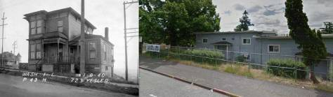 "Compare this Google Earth detail to Jean's ""repeat"" of the claimed location, 723 Yesler Way. The Google record was photographed sometime before the block's razing."