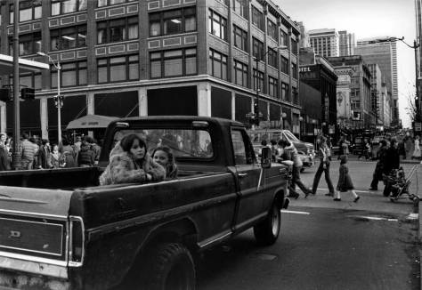 Looking south on 5th Avenue thru Pine Street with Frederick and Nelson on the left. This feature appears in Pacific on Jan 9, 1983, so the crowd of pedestrians seen here are mostly Christmas shoppers from the closing weeks of 1982. It takes about a month for the Times to process t he features I deliver to them.