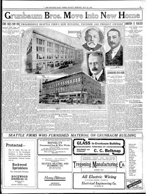 Full-page coverage of the Grunbaum Bros. new home in the Decatur Building, May 28, 1922. {CLICK CLICK CLICK to Enlarge]