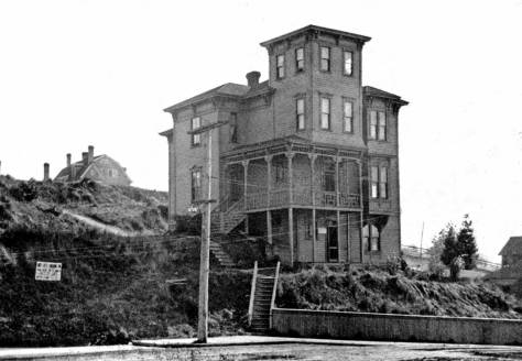 The Ward Home at the southwest corner of Pike Street and Boren Avenue, and just of frame to the right in the featured photo at the top. (The clip for its short story is included near the bottom of this week's feature.)