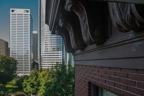 Just below the roofline, looking west