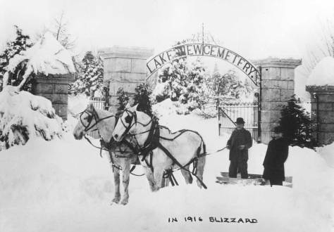 "The old main entrance to Lake View Cemetery off of 15th Avenue and not far from the present entrance. The 1916 Big Snow was Seattle's penultimate blizzard - after the 1880 one. At this time Dutch Ned has been snug in his ""little house"" for eighteen years."
