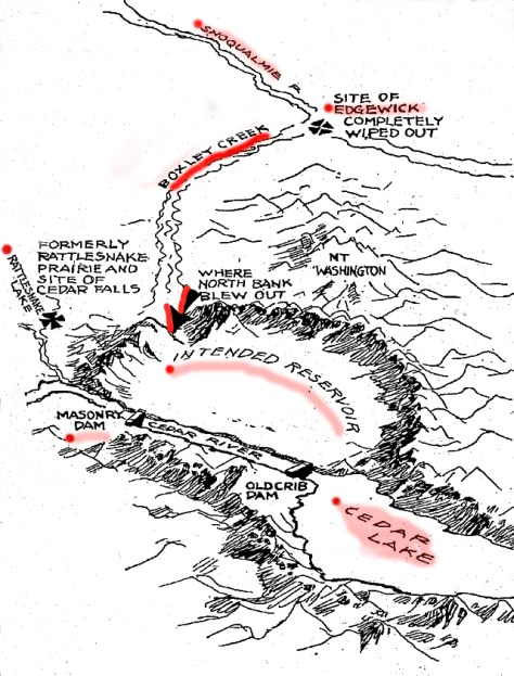 "We have colored some this ""Boxley Blow-out"" cartoon that was printed in the times after the Ceramic Dam's vulnerable side broke. The event occurred a few days before Christmas 1918, and the created waterway was called ""Christmas Creek."" It joined with Boxley Creek and flooded the small milltown of - well it is marked on the map."
