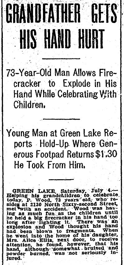 "A new brevity about Grandpa Wood loaded with sensational headers but tailing with a near ""never mind."" Grandpa was not hurt - so bad. The clip dates from July 5, 1908. (Courtesy The Seattle Times as are most of the local clips used here.)"