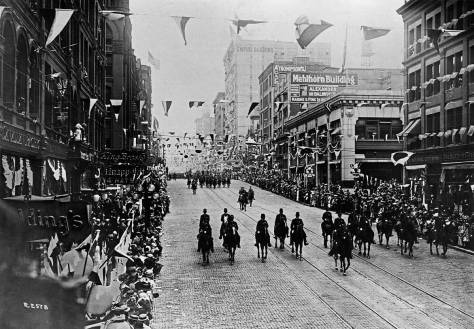 Second north through Columbia during a Golden Potlatch Celebration parade, 1911. [Courtesy Michael Maslan]