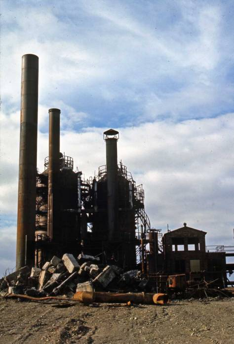 "Shaw writes ""cluster of stacks at Gasplant Park, Feb. 5, 1974."""